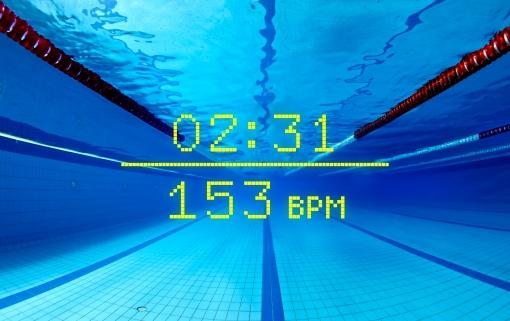 underwater view of empty indoor swimming pool